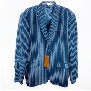 NEW Perry Ellis Mens Blue Pinstriped Sports Coat